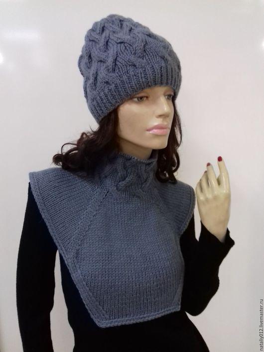"""Шапки ручной работы. Ярмарка Мастеров - ручная работа. Купить Вязаный компрлект """"Gray-1"""". Handmade. Серый, вязаный свитер"""