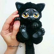 """Куклы и игрушки ручной работы. Ярмарка Мастеров - ручная работа Игрушка-сувенир """"Чёрный Кот"""" малыш Выполнен в смешанной технике. Handmade."""