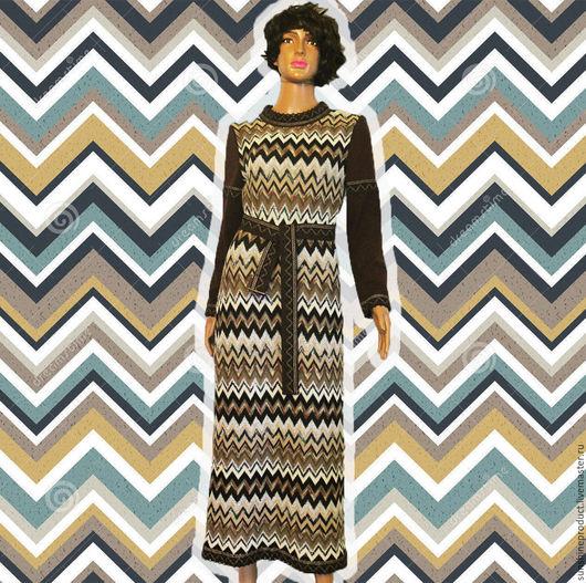 """Платья ручной работы. Ярмарка Мастеров - ручная работа. Купить Платье """"Зигзаги Миссони"""". Handmade. Комбинированный, зигзаги, платье в обтяжку"""