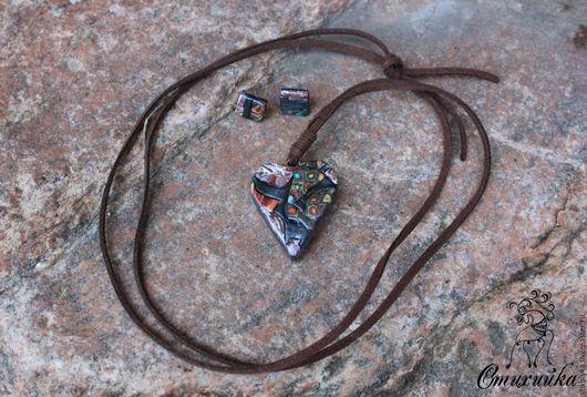 кулоны, купить кулон, кулон из полимерной глины, украшение на шею, кулон на шею, на замшевом шнуре, кулон сердце, кулон сердце, подвеска сердце, подвески,серебряный,под шею, Стихийка, Ярмарка мастеров