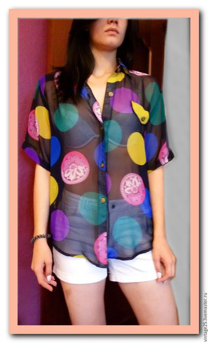 Одежда. Ярмарка Мастеров - ручная работа. Купить Винтажная 80 е годы яркая рубашка женская Лондон Оригинал. Handmade.