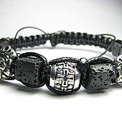 Украшения handmade. Livemaster - original item Mens Shamballa bracelet with lava (basalt). Handmade.