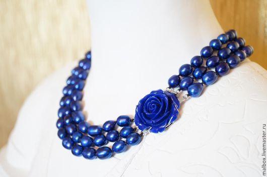 """Колье, бусы ручной работы. Ярмарка Мастеров - ручная работа. Купить Колье из жемчуга """"Blue Queen"""". Handmade. Синий"""