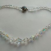 Винтаж handmade. Livemaster - original item Necklace vintage beads Czech glass aurora borealis biconus. Handmade.
