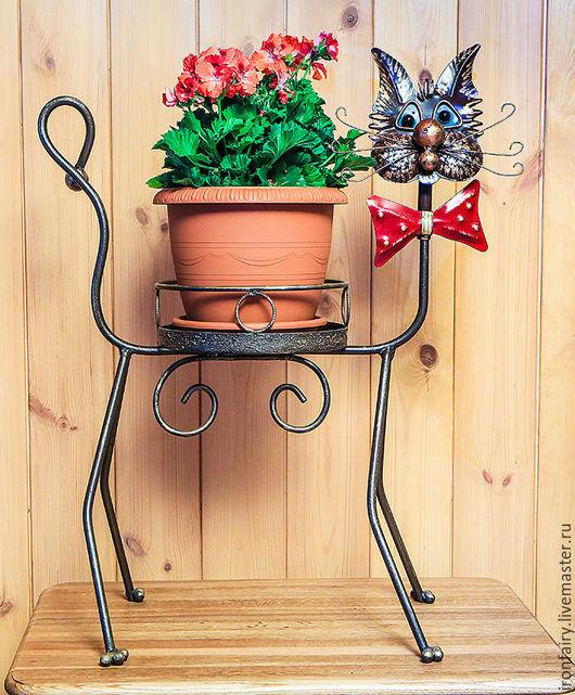 Экстерьер и дача ручной работы. Ярмарка Мастеров - ручная работа. Купить Подставка для цветов Кот. Handmade. Комбинированный, цветочная композиция