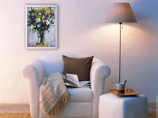 Картина маслом Полевые цветы Букет полевых цветов масло Картина летние цветы Летние цветы в вазе Ромашки пижма колокольчики
