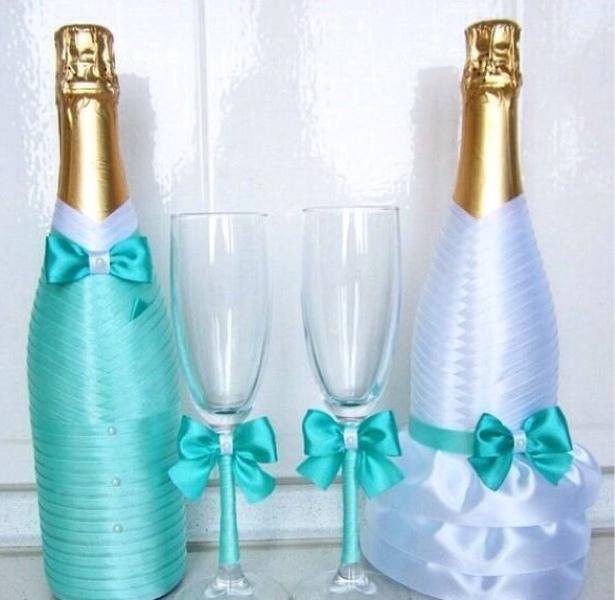 Декор свадебные бокалы и шампанское