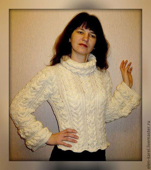 Кофты и свитера ручной работы. Ярмарка Мастеров - ручная работа. Купить Белый свитер с косами. Handmade. Белый, свитер женский