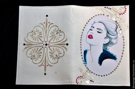 """Персональные подарки ручной работы. обложка для паспорта """"Леди 2 """".  Ярмарка Мастеров."""