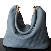 Сумки и аксессуары handmade. Livemaster - original item Grey-Blue Leather Hobo Quilted Bag. Handmade.