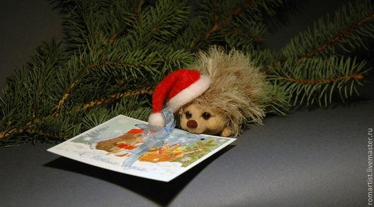 Игрушки животные, ручной работы. Ярмарка Мастеров - ручная работа. Купить Новогодний ежик. Handmade. Бежевый, Новый Год