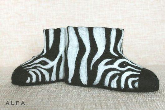 Обувь ручной работы. Ярмарка Мастеров - ручная работа. Купить Зебрята. Handmade. 100% шерсть, шерсть