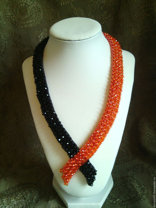 """Колье, бусы ручной работы. Ярмарка Мастеров - ручная работа. Купить Колье """"Танго"""". Handmade. Разноцветный, оранжевый цвет"""