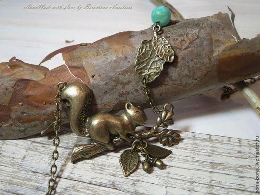 """Кулоны, подвески ручной работы. Ярмарка Мастеров - ручная работа. Купить Кулон на цепочке """"Squirrel on a branch"""". Handmade."""