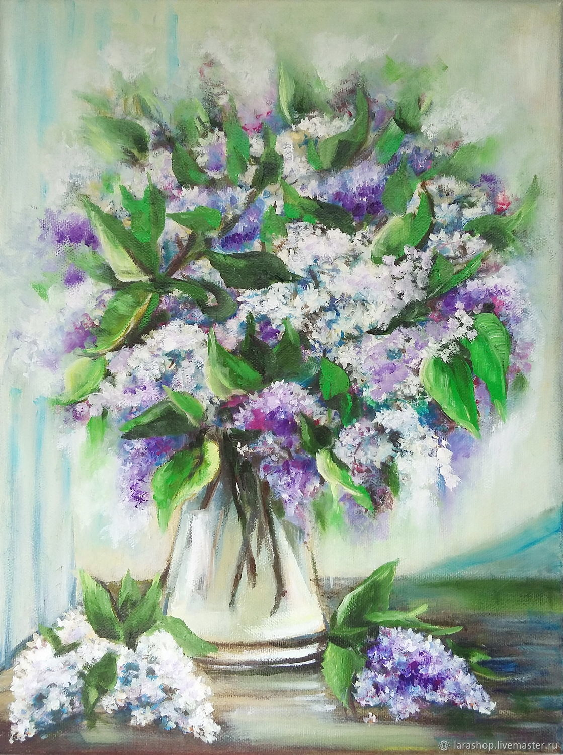 Painting lilac Flowers in a vase Oil on Canvas still Life with lilac flowers, Pictures, Moscow,  Фото №1