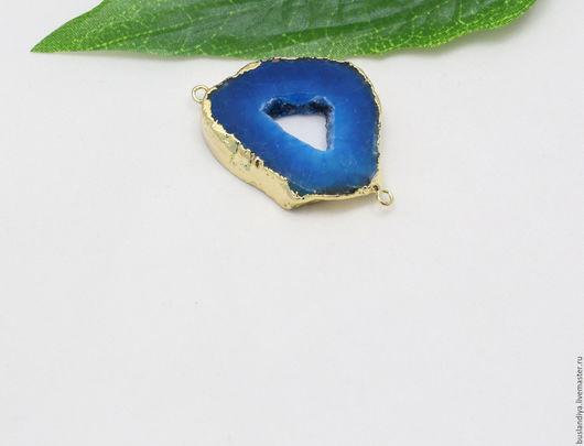Для украшений ручной работы. Ярмарка Мастеров - ручная работа. Купить Коннектор синие оттенки в позолоте №5. Handmade. Друза
