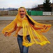 Одежда handmade. Livemaster - original item Cardigan. Yellow rain. Cape. Handmade.