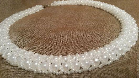 """Колье, бусы ручной работы. Ярмарка Мастеров - ручная работа. Купить Ожерелье """"Жемчужное"""". Handmade. Белый, ожерелье из бисера"""