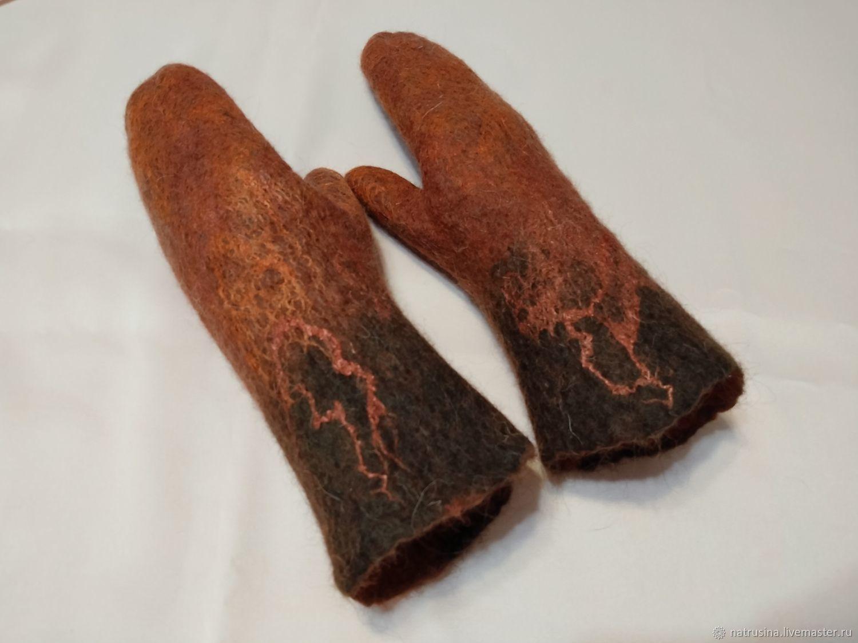 Mittens felted, warm, woolen. Women's mittens, Mittens, Moscow,  Фото №1