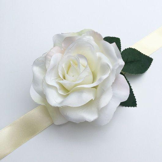 Свадебные украшения ручной работы. Ярмарка Мастеров - ручная работа. Купить Браслет на девичник с белой розой. Handmade. Девичник