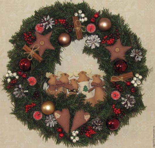 Новый год 2017 ручной работы. Ярмарка Мастеров - ручная работа. Купить Венок рождественский декоративный. Handmade. Комбинированный, новый год 2016