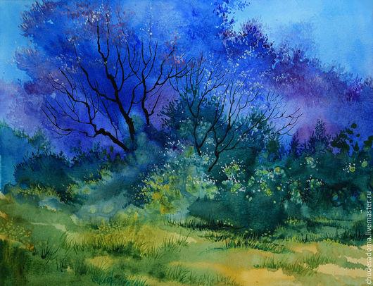 """Фантазийные сюжеты ручной работы. Ярмарка Мастеров - ручная работа. Купить Картина """"Синие деревья"""" акварель. Handmade. Синий"""