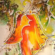 Картины и панно ручной работы. Ярмарка Мастеров - ручная работа Батик-картина - Осенний дуэт. Она.. Handmade.