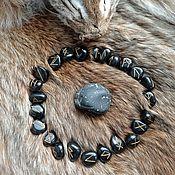 Фен-шуй и эзотерика handmade. Livemaster - original item Scandinavian runes made of black agate. Handmade.
