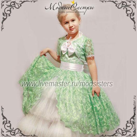 """Одежда для девочек, ручной работы. Ярмарка Мастеров - ручная работа. Купить Детское платье """"Роскошь"""" Арт.358 (мята). Handmade."""