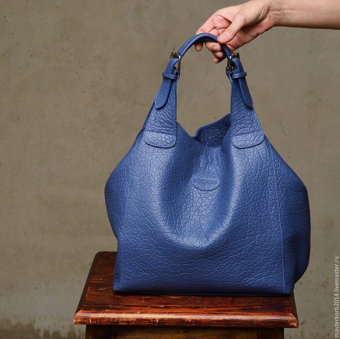 a7dd41189116 ручной работы. Ярмарка Мастеров - ручная работа. Купить Синяя сумка-мешок  кожаная женская ...