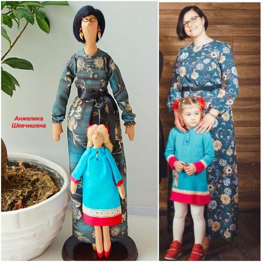 Куклы Тильды ручной работы. Ярмарка Мастеров - ручная работа. Купить Мама с дочкой-портретные куклы. Handmade. Тильда, синтепух