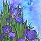 scarf silk batik Irises natural silk