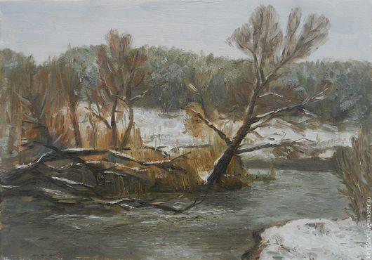 Пейзаж ручной работы. Ярмарка Мастеров - ручная работа. Купить Незамерзающая речка. Handmade. Серый, пейзаж, зима, река, пасмурно