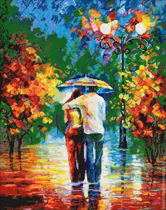 Схема вышивки бисером по картине Афремова `Прогулка под дождем`