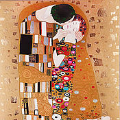 Картины и панно handmade. Livemaster - original item Oil painting on canvas with gold and gold leaf Gustav Klimt the Kiss. Handmade.