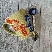Посуда ручной работы. Ярмарка Мастеров - ручная работа Кружка с декором из полимерной глины Фиксики. Handmade.
