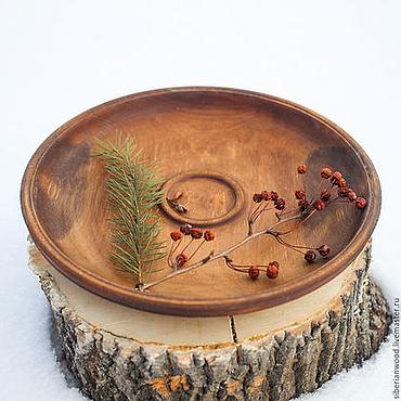 Посуда ручной работы. Ярмарка Мастеров - ручная работа Деревянная тарелка 29см Блюдо из Сибирского кедра - ручная работа #T20. Handmade.