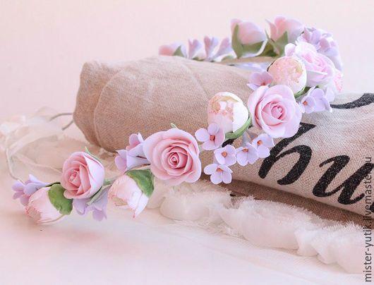 """Свадебные украшения ручной работы. Ярмарка Мастеров - ручная работа. Купить Веночек с цветами """"Dream"""". Handmade. Розовый, венок с цветами"""