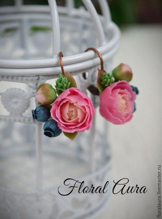 Серьги ручной работы. Ярмарка Мастеров - ручная работа. Купить Серьги с пионами и ягодами черники. Handmade. Розовый, холодный фарфор