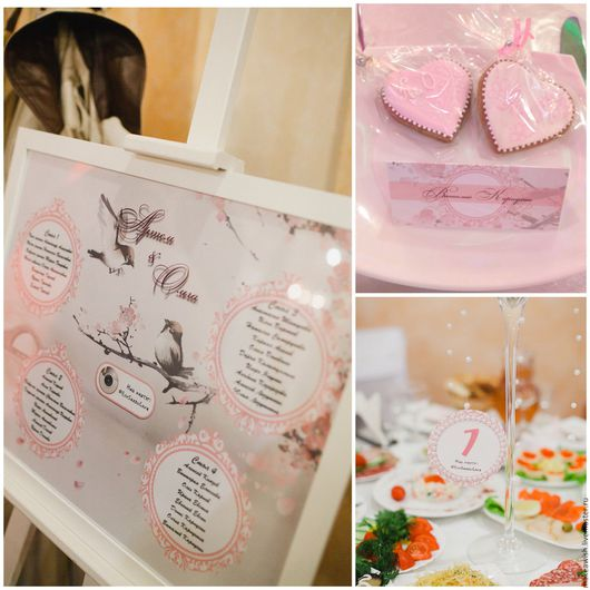 План рассадки, номера столов, рассадочные карточки и бонбоньерки для свадьбы в пудрово-розовом цвете.