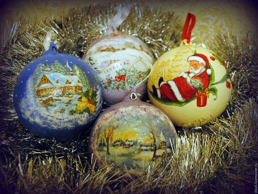 Новый год 2017 ручной работы. Ярмарка Мастеров - ручная работа. Купить Новогодние шары в технике декупаж. Handmade. Новогодний подарок