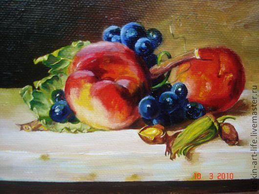 Натюрморт ручной работы. Ярмарка Мастеров - ручная работа. Купить натюморт с персиками. Handmade. Ярко-красный, персики, виноград, натюрморт