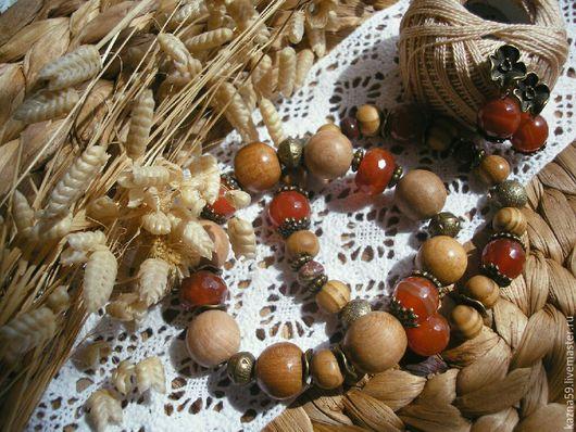 """Браслеты ручной работы. Ярмарка Мастеров - ручная работа. Купить Комплект """"Закат на сеновале"""": сет браслетов и серьги. Handmade. яшма"""