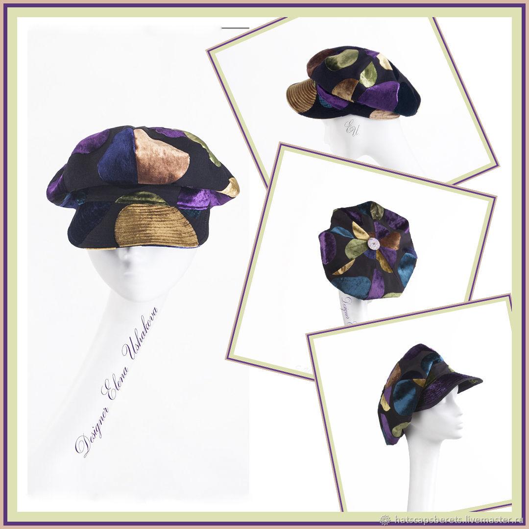 Cap. Cap, ladies cap made of velvet DeVore. Exclusive, Caps1, Moscow,  Фото №1