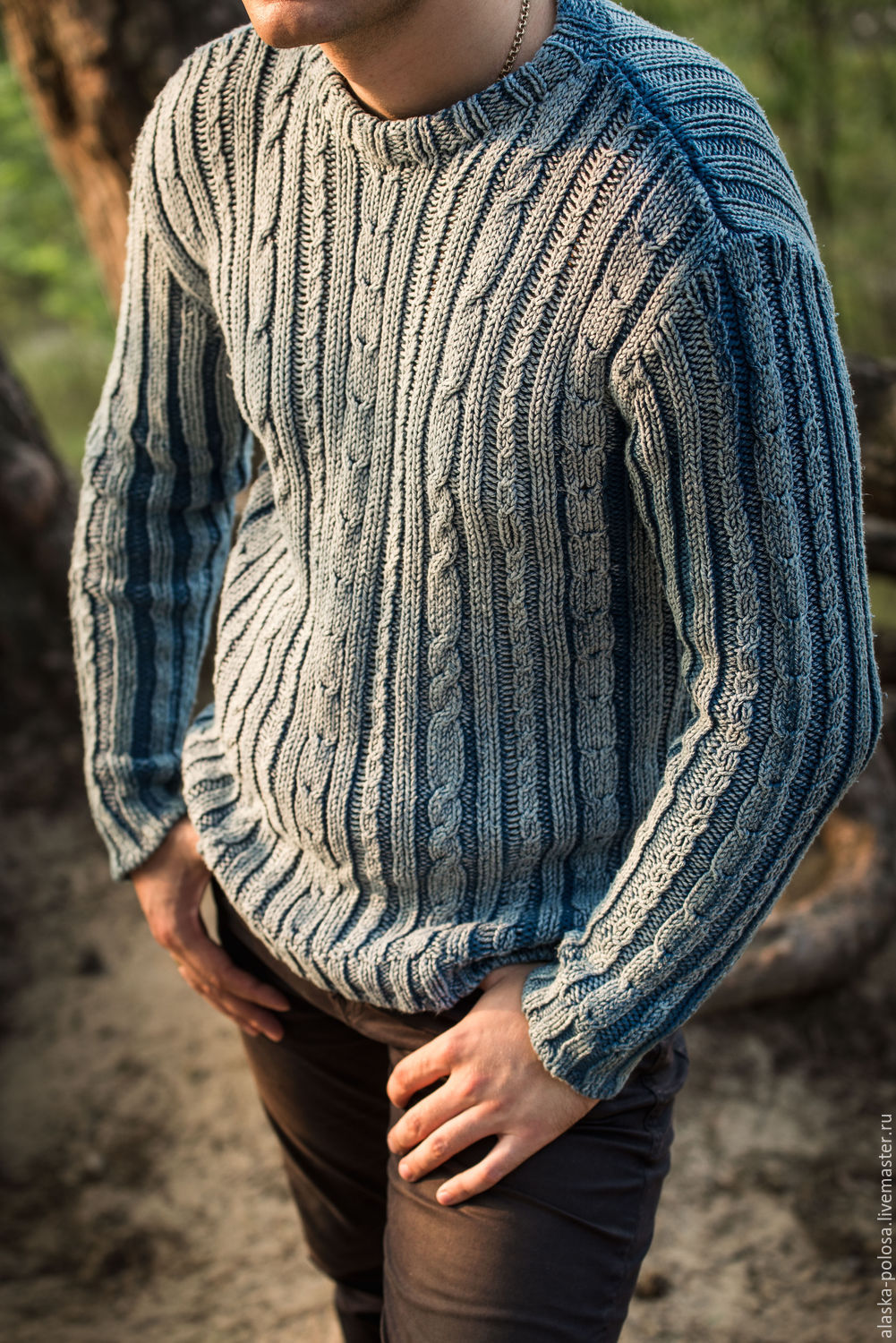 Sweaters Heavy knit cotton indigo Dyed Faded – shop online on ...