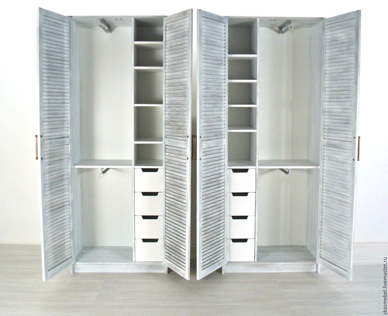 """Шкаф для одежды """"прованс"""" состаренный двери - жалюзи узкий -."""