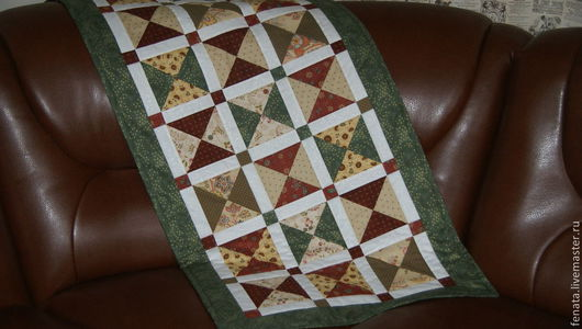 Текстиль, ковры ручной работы. Ярмарка Мастеров - ручная работа. Купить Лоскутный пледик. Handmade. Зеленый, лоскутное покрывало, скамейка