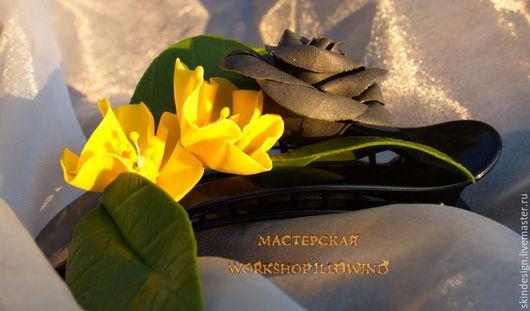 """Свадебные украшения ручной работы. Ярмарка Мастеров - ручная работа. Купить Заколка """"Черная роза"""". Handmade. Разноцветный, черная роза"""