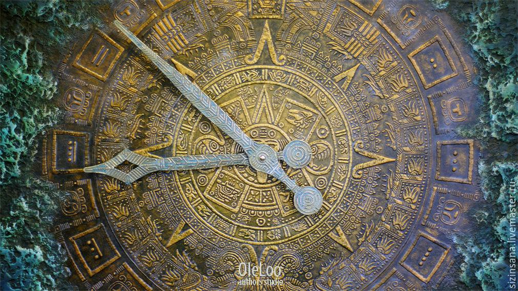 Майянское золото. Настенные часы 80 см, Часы классические, Москва,  Фото №1