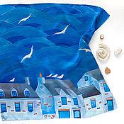 Аксессуары ручной работы. Ярмарка Мастеров - ручная работа В синем море - шелковый платок с ручной росписью. Handmade.